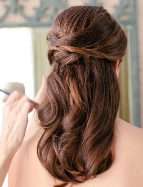 Beautiful Half Down Half Up Braided Hairstyle with curls Half down hairstyles  Braidsandstyles12